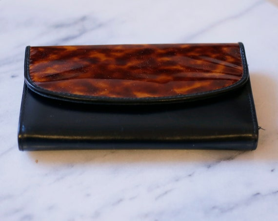 1980s black patent leather wallet // 1990s leopard wallet // vintage clutch
