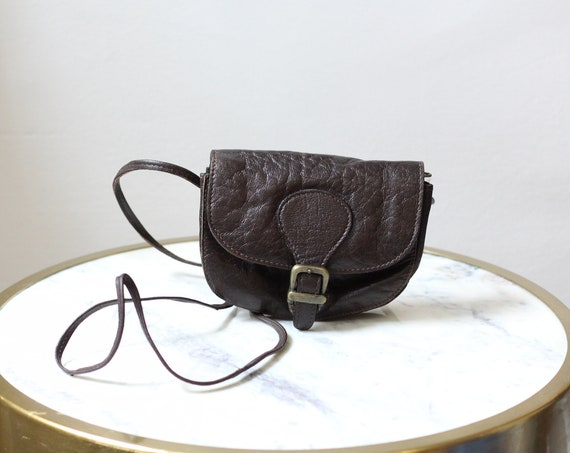 1970s small brown leather purse // 1970s mini purse// vintage purse
