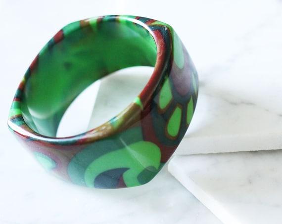 1970s psychedelic print bangle // cuff bracelet // vintage jewlery