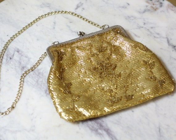 1960s gold beaded clutch  // bridal clutch // vintage purse