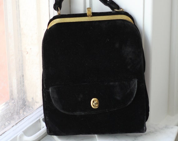 1950s gold and black velvet purse // velvet evening bag // vintage purse