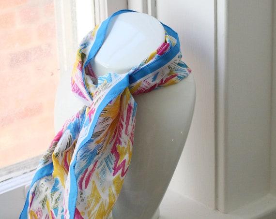 1970s sheer floral scarf // vintage neck scarf // vintage nylon scarf