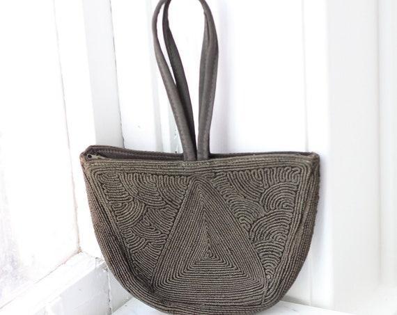 1940s green cord handbag // 1940s handbag // vintage purse