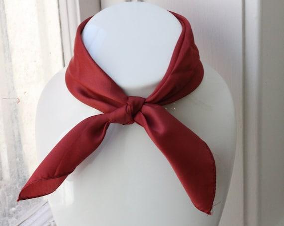 1970s burgundy scarf // vintage neck scarf // vintage nylon scarf