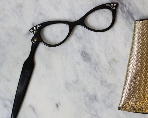 1950s black one arm reading glasses // 1960s glasses  // vintage reading glasses