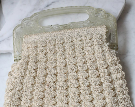 1930s white crochet purse // 1930s celluloid handle purse // antique purse