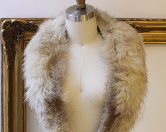1960s rabbit fur collar // mixed fur collar // vintage fur collar