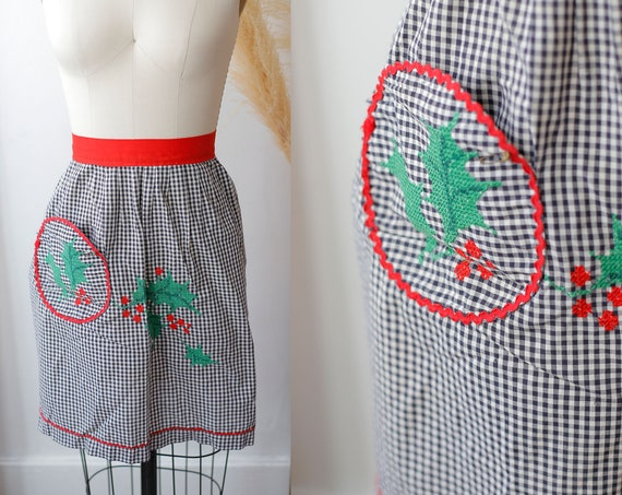 1960s black checkered apron // vintage holiday apron //vintage apron