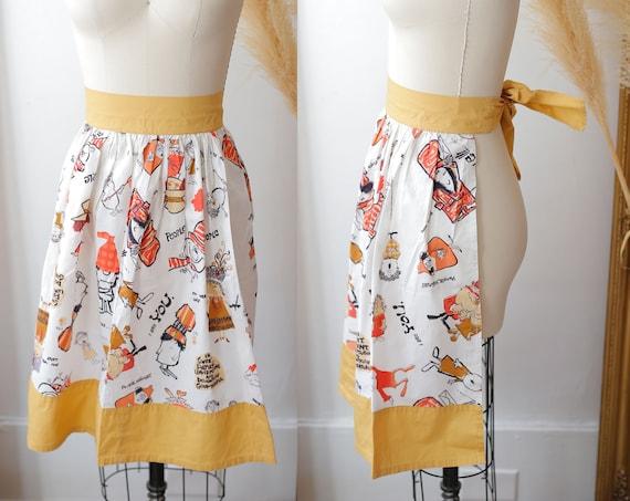 1960s novelty print apron // vintage people print apron //vintage apron