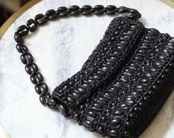 1950s black beaded purse  // big bead purse // vintage handbag