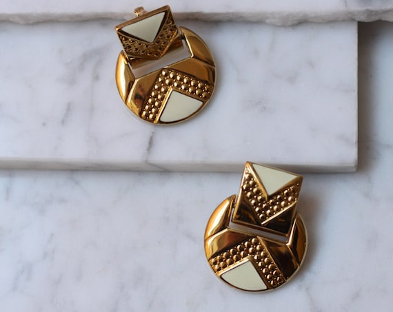 1980s brass door knocker earrings // 1980s geometric earrings // vintage earrings