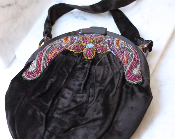 1930s velvet beaded handbag // 1930s floral handbag // antique purse