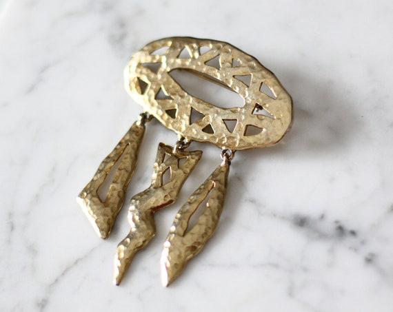 1980s gold weather brooch // 1980s gold hammered brooch // vintage brooch