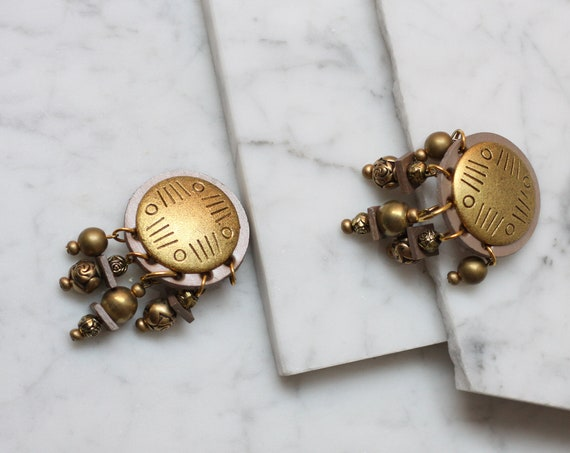 1980s brass pendant earrings // 1980s statement earrings // vintage earrings