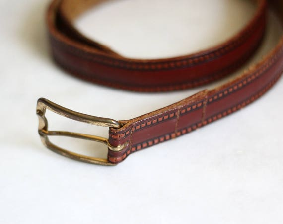 1970s cherry red leather belt // 1970s leather belt // vintage belt