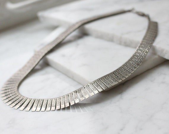 1960s silver choker necklace // 1960s embossed choker // vintage jewlery