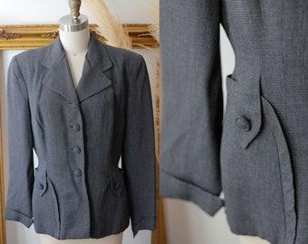 Vintage 1980s does 1940s Daniele O Paris Brown Wool Suit  80s  Faux Fur Trim Skirt and Blazer Set  Size Medium