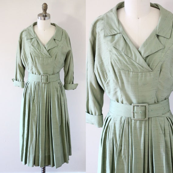 1950s green shirt dress // 1950s swing dress // vintage dress