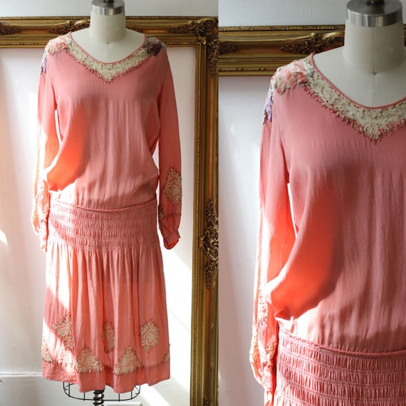 1920s pink floral velvet dress // 1920s longsleeve flapper dress  // vintage dress