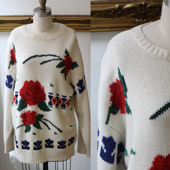 1980s white floral sweater // vintage sportswear // vintage sweater