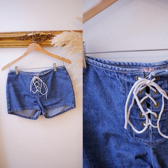 1990s lace up jean shorts //1990s short shorts // 1990s denim shorts