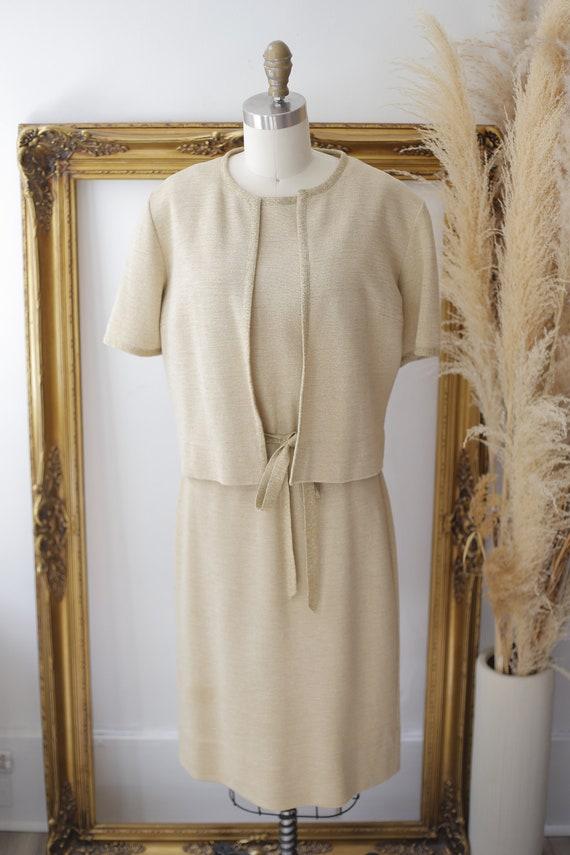 1960s gold sparkle dress set // sweater dress set… - image 6