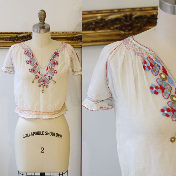 1930s hungarian blouse // 1930s embroidered blouse