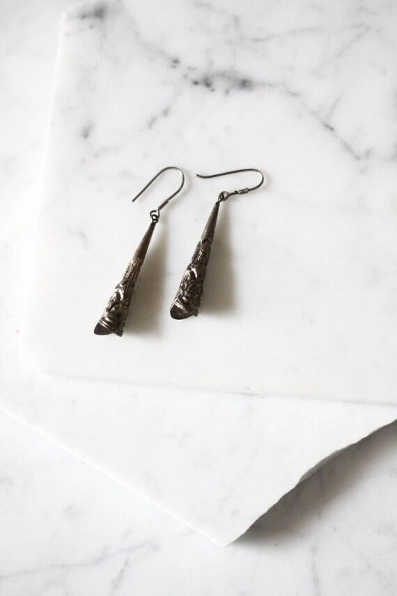 1970s silver fish horn earrings // 1970s earrings // vintage earrings