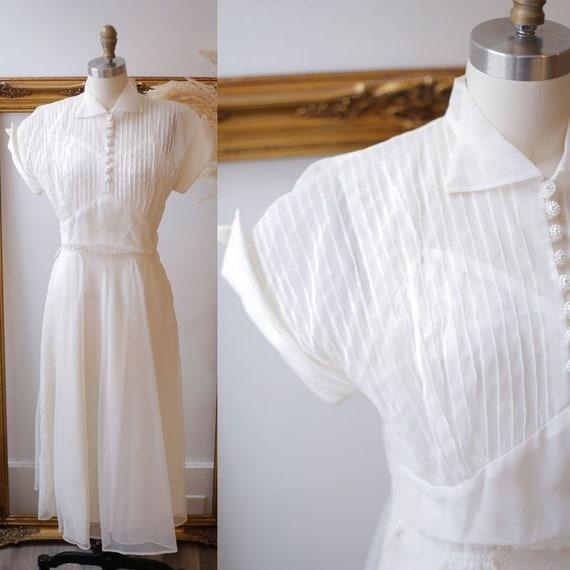 1940s white dress // 1950s white sheer dress // vintage wedding dress