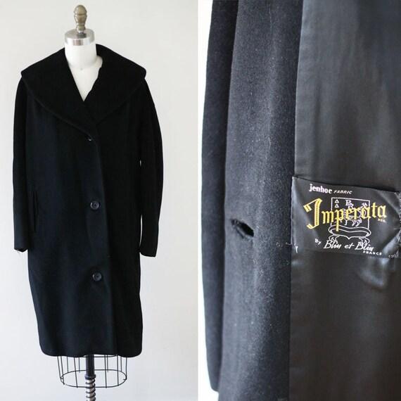 1960s black cocktail coat //black cashmere coat // vintage coat