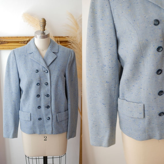 1940s light blue blazer // 1940s blue check suit jacket // vintage jackets