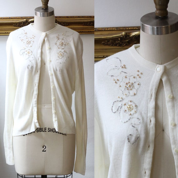 1960s white floral beaded sweater // 1960s white cardigan // vintage beaded sweater