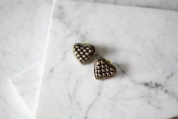 1980s quilt heart earrings // 1980s heart shaped earrings // vintage earrings