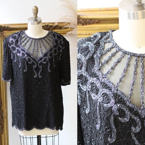 1980s black beaded mesh blouse // 1980s beaded silk top // 1980s beaded top