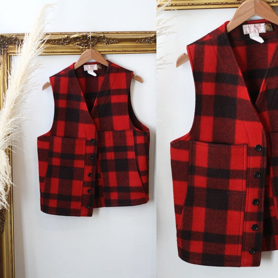 1960s red plaid Filson wool vest // 1960s Filson vest // vintage plaid vest