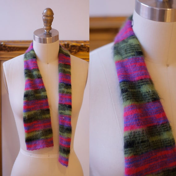 1960s striped scarf // 1960s mohair cashmere scarf // vintage scarf