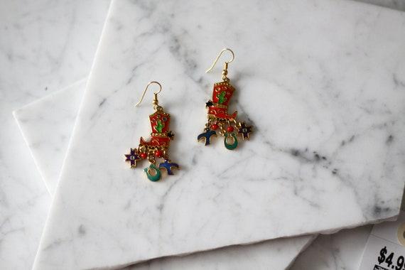1980s cowboy boot earrings // 1980s western earrings // vintage earrings