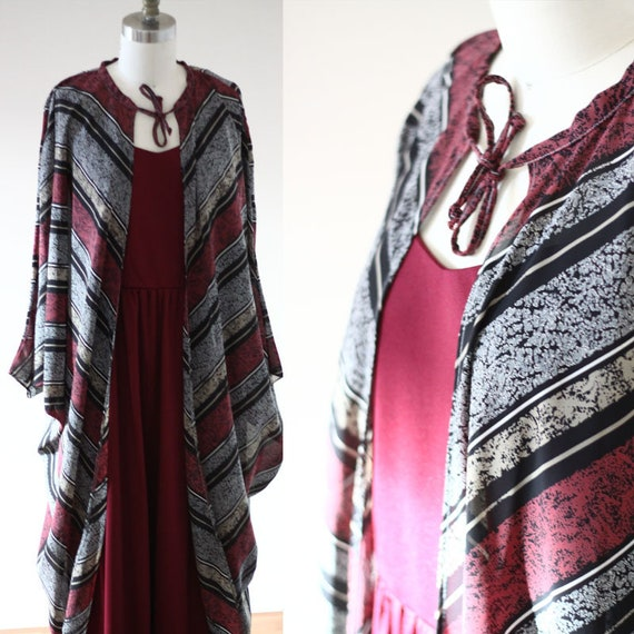 1970s burgundy maxi dress // vintage batwing cape  // vintage dress