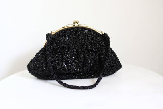 1950s black beaded handbag // 1960s handbag // vintage purse