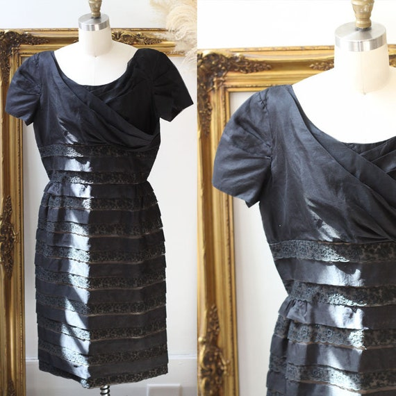 1950s tiered cocktail dress // 1950s little black dress // vintage wiggle dress