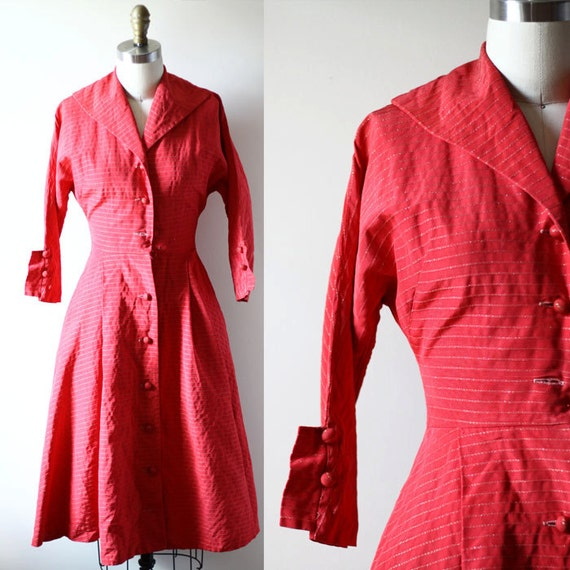 1950s red swing dress // striped dress // vintage dress