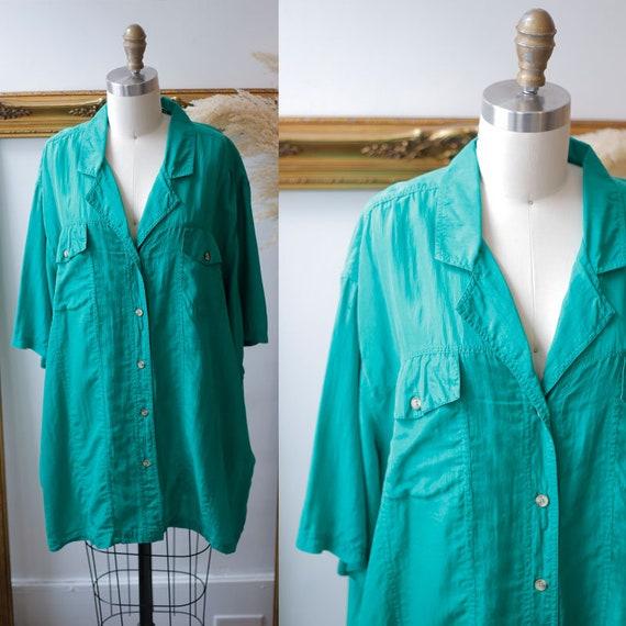 1980s green silk blouse // 1980s short sleeve blouse // 1980s green blouse