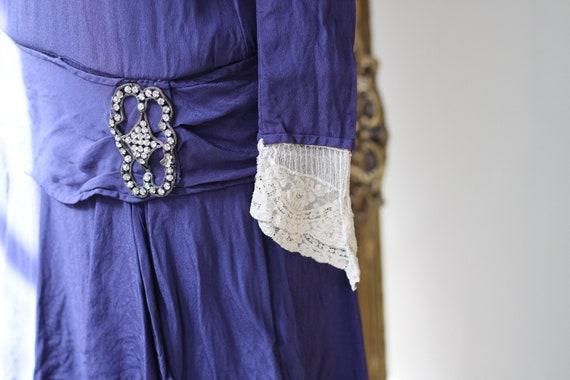 1920s cobalt blue silk dress // 1920s lace flappe… - image 7