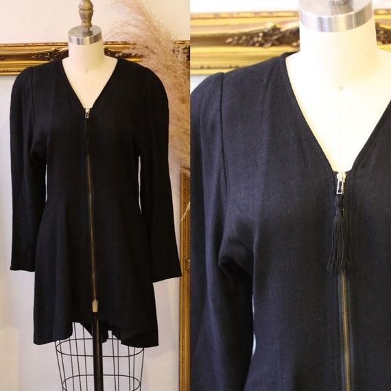 1980s black zip up dress // 1980s black linen dres