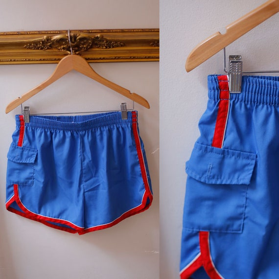 1970s blue red track shorts //1970s short shorts // 1970s sport shorts