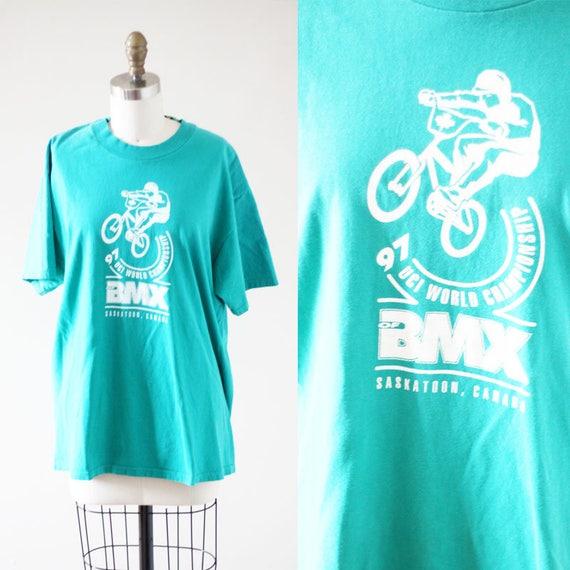 1990s bmx t-shirt // 1990s green BMX shirt // vintage t-shirt
