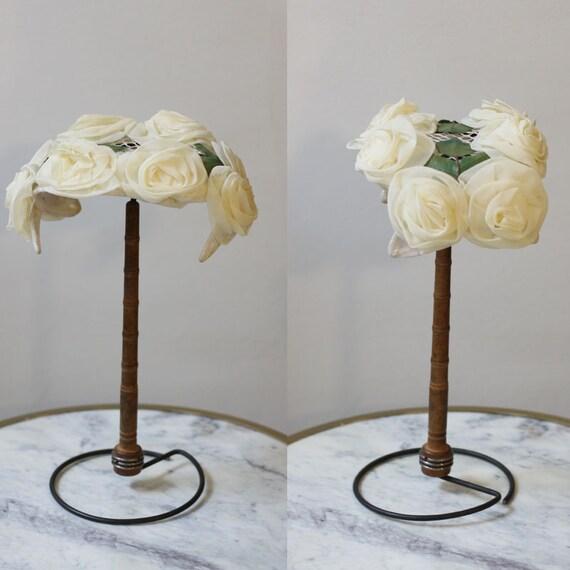 1950s white flower hat // 1950s flower headband hat // vintage hat