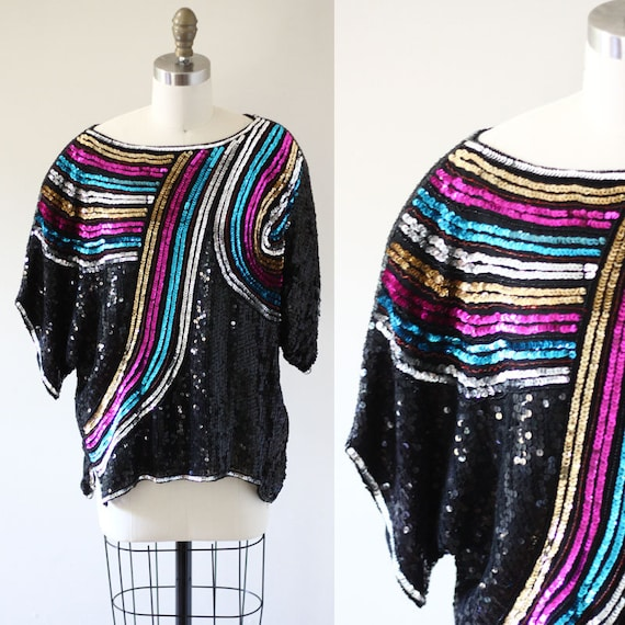 1980s rainbow sequin top // 1980s black sequin shirt // vintage sequin top