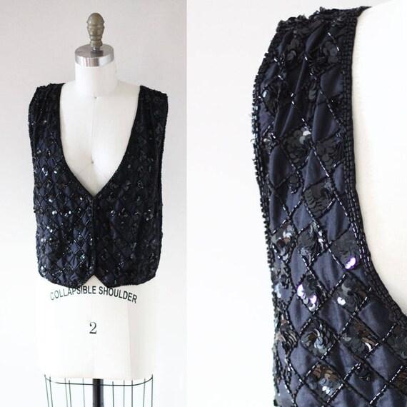 1980s silk beaded vest // vintage silk vest  // vintage vest