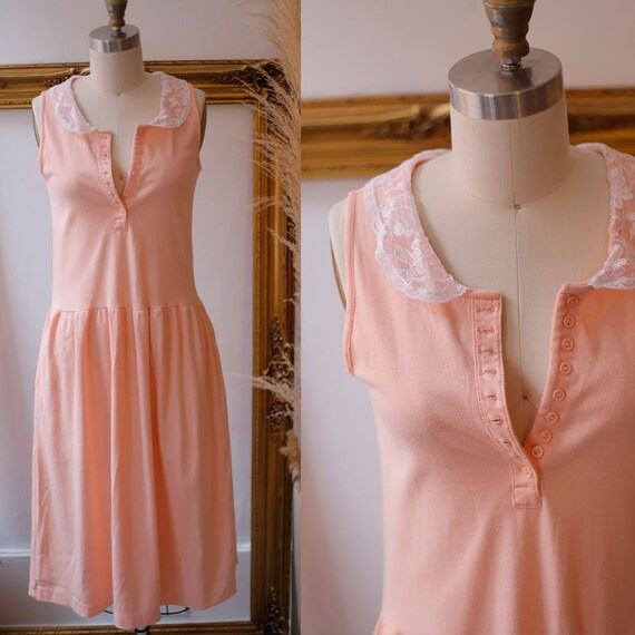 1980s peach cotton dress // 1980s lace collar dress // vintage dress
